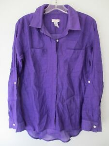 Chico-039-s-Women-039-s-Size-0-Solid-Purple-Long-Sleeve-Button-Front-Shirt-Blouse-Top