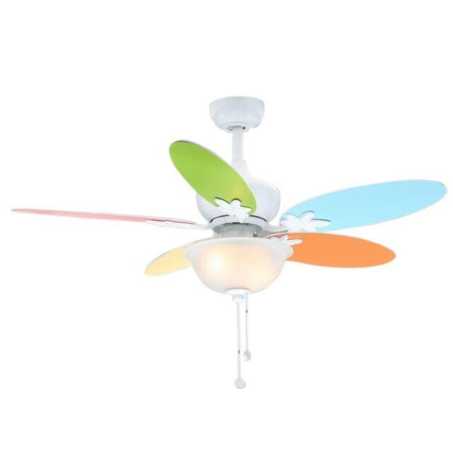 Hampton Bay Harper Ii 44 Inch Multicolored Blade Ceiling Fan W Light Kit White For Sale Online Ebay