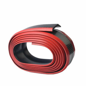 Parachoques-delantero-Falda-de-goma-Estilo-de-la-fibra-del-carbon-Negro-rojo