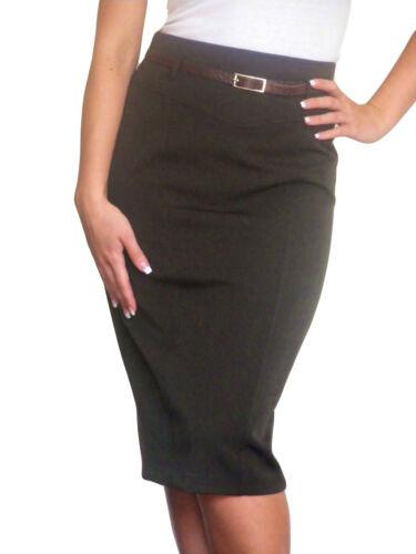 Ladies Pencil Skirt Bodycon Midi Size 8 10 12 14 16 18