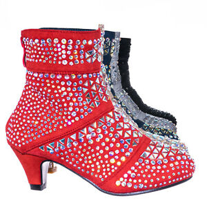 Event98K Kids Rhinestone Crystal Glitter Bootie Girls Shimmering Dress Shoes
