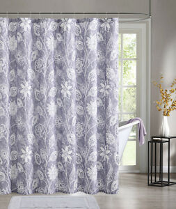 Details about purple embossed fabric shower curtain white floral