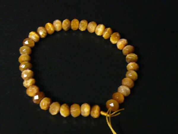"(elm067) Gemstone Natural Faceted Gold Tiger's Eye. Bead 5x8 Mm. Strand 7,5"" Alta Seguridad"