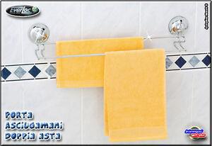 Accessori Bagno A Ventosa Everloc.Porta Asciugamani Asta Doppia Da Parete Acciaio A Ventose Everloc Ebay