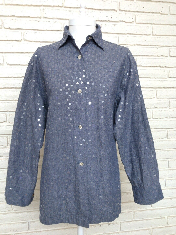 Todd Oldham Times Seven Henri Bendel damen Medium Sequin Denim Button Down Shirt