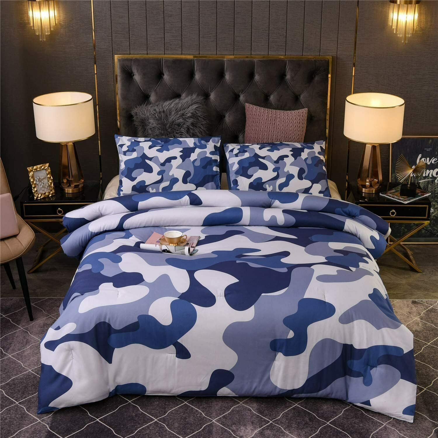 Boys Blue Camo 4 Pc Comforter Set Full Queen Polyester Camoflauge Teen Bedding For Sale Online Ebay