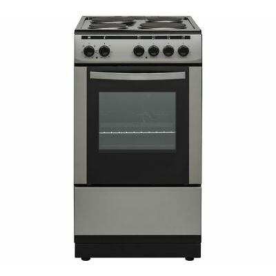 ESSENTIALS CFSESV18 50 cm Electric Solid Plate Cooker - Inox & Black - Currys