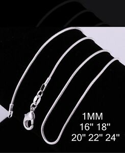 1mm-925-Sterling-Silver-Snake-Chain-Necklace-All-Lengths-Buy-1-Get-1-FREE