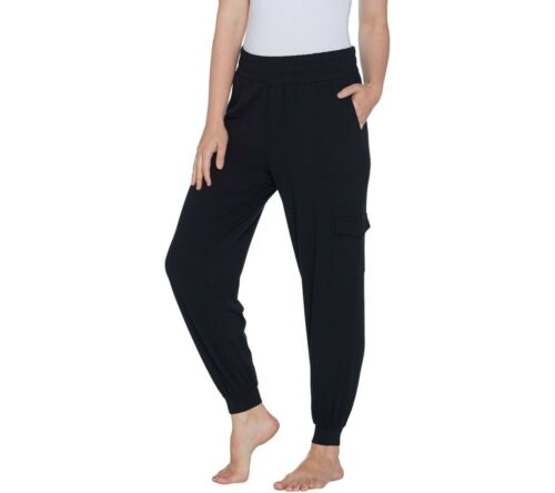 AnyBody Women/'s Cozy Knit Cargo Jogger Pants with Pockets Black X-Small Size QVC
