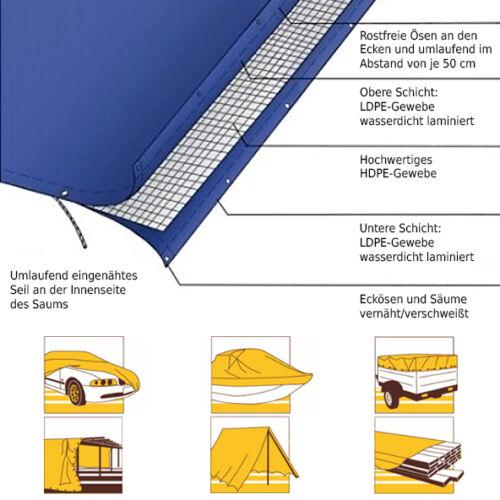 Gewebeplane Abdeckplanen Bootsplane Abdeckplane Plane 260g//m² mit Ösen 8 Größen