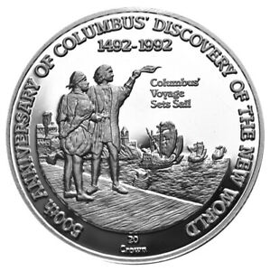 TURKS-amp-CAICOS-20-Crowns-1991-Silver-Proof-Discovery-America-Columbus-039-Voyage