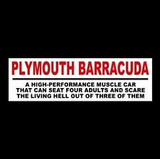 "Funny ""PLYMOUTH BARRACUDA"" decal STICKER muscle car Hemi Cuda 1969 1970 1971"