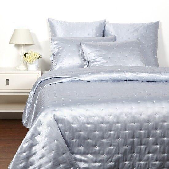 Hudson Park LUXE SILK QUEEN COVERLET Blanket & SHAMS Cornflower Blau  1200 New