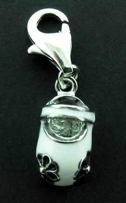 Brazalete 925 Sterling Silver Charm Colgante Gota de Zapatos de bebé blanco negro esmaltado