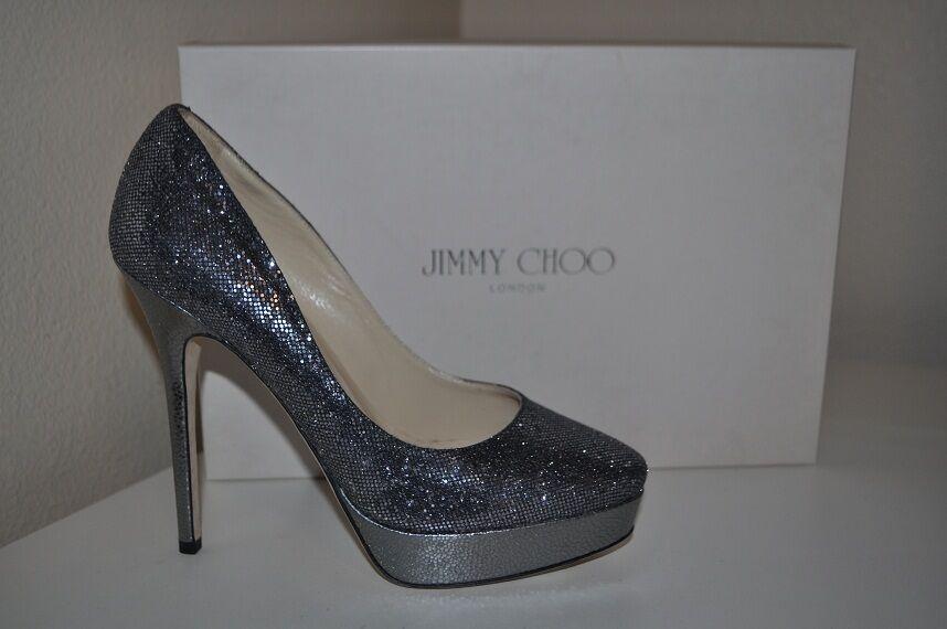 NIB  695+ Jimmy Choo Cosmic Platform Glitter Anthracite Silver Silver Silver Pump shoes Sz 40 5798e5