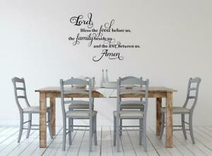 Lord Bless The Food And Family Prayer Kitchen Dining Room Wall Decal Art Ebay