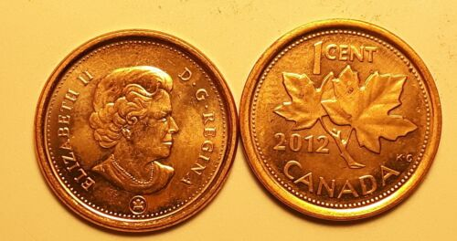 2012 Non-Magnetic /& Magnetic Zinc//Steel Canada 1 Cent Penny Coin AU Lot of 2