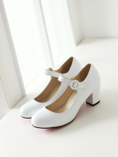 Women Mary Jane Shoes Round Toe Buckle Ankle Strap Dress Pumps Block Mid Heels