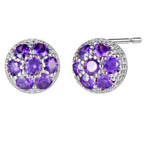 Flower-Purple-Amethyst-Gems-925-Sterling-Silver-Plated-Silver-Stud-Earrings