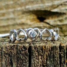 .925 Sterling Silver Ring CZ Heart size 9 Midi Knuckle Infinity Ladies New r84