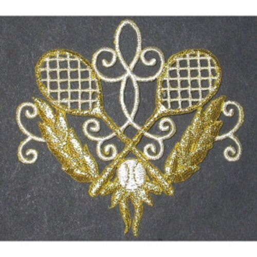 Tennis Racquet In Scroll Metallic Gold /& White Iron On Applique x 1 in two sizes