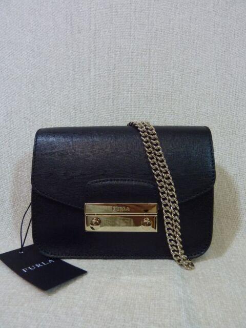 99bba720115 NWT FURLA Onyx Black Saffiano Leather Mini Julia Chain Cross body Bag  328