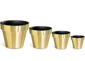 blumenk bel blumentopf gold chrome 4 grosse best preis ebay. Black Bedroom Furniture Sets. Home Design Ideas