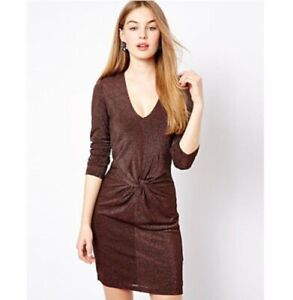 04921dc65fe0c7 TED BAKER LONDON Bronze Metallic Twist Knotted Dress Size 0 (US XXS ...
