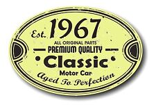 Retro Distressed Aged To Perfection Classic Oval 1967 Vintage Car sticker decal