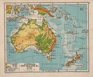 Map Of Australia New Zealand.Details About 1928 Map Australia New Zealand New Guinea Physical