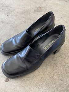 Vintage Enzo Angiolini CHUNKY HEEL Women's Leather Loafers Shoes Sz 8.5 Black