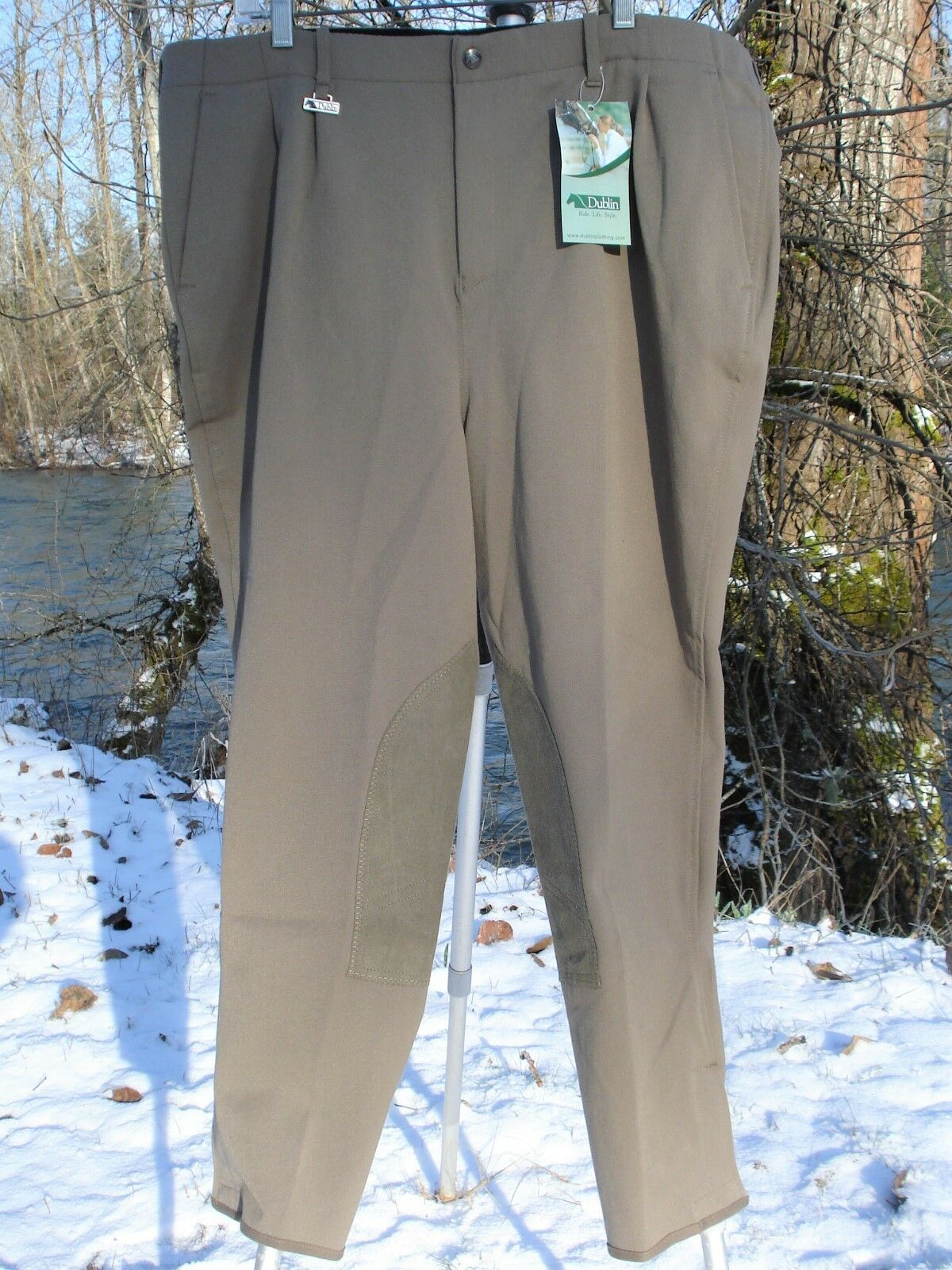 DUBLIN RIDING BREECHES M WAIST 39  HIPS 49  I.S. 27  TAUPE SUEDE PADS NEW w TAGS