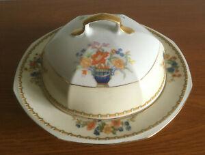 MZ-Altrohlau-CMR-Czechoslovakia-034-Diana-034-Covered-Butter-Cheese-Dish-Vtg-Art-Deco