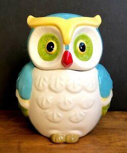 Owl-Large-Cookie-Biscuit-Jar-Ceramic-Hand-Painted-Japan-C158