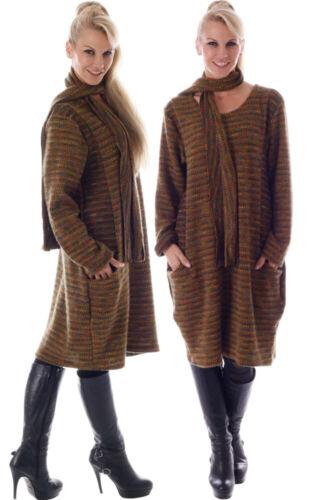 Wohlfühlkleid Mehrfarbig mit Fransen Schal Einheitsgröße 36-40 Strickkleid