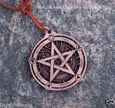 PROTECTION TALISMAN Copper Medallion Pentagram Hamsa Pendant w/ Activation Spell