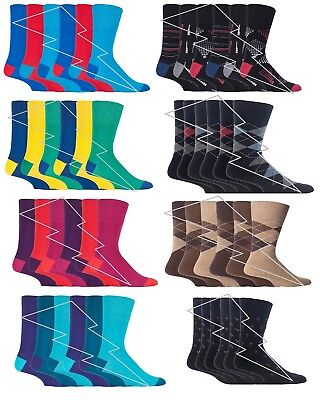 Mens Gentle Grip Socks Non Elastic Soft Top Mixed Colours classic collection so