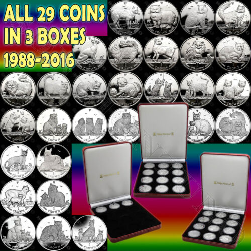 1988-2016 COMPLETE SET 29 Isle of Man Copper Nickel CAT COINS in 3 Mint Boxes