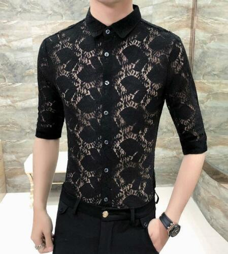 Men/'s Soft Lace Trendy Half Sleeve Shirt Button Front Slim Casual Tops SizeM-3XL