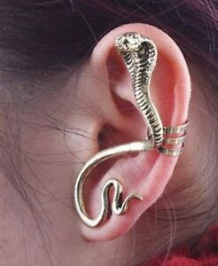 1x-Cute-Antique-Gold-Tone-Cobra-Snake-Ear-Cuff-Stud-Earrings-Climber-Rings-ECF21