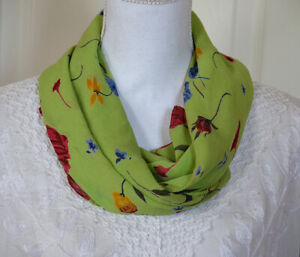 Georgette-Fabric-Green-Color-Scarf-Stole-Wrap