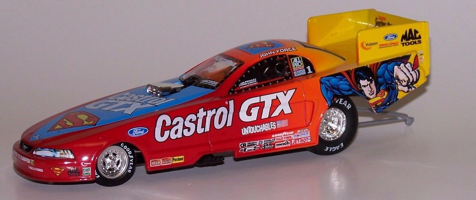 John Force Castrol GTX Superman 1999 Mustang Funny Car Action 1 32 AUTOGRAPHED