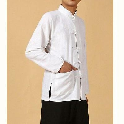Retro Collar Button Traditional Chinese Men Kung Fu Linen  Shirts Tops New