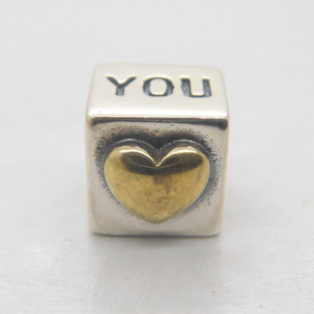 New I Love You w/ 14k Gold Heart 925 Sterling  Silver Charm Mother's Day gift