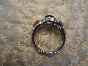 #88---VINTAGE STERLING SILVER RING--WITH 2 STONES BLACK ONYX & ? -SIZE-7--