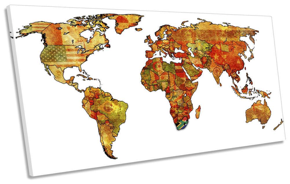 Map of the World Flags Bild PANORAMIC CANVAS Wand Kunst Drucken
