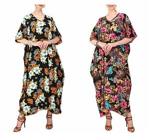 8cc5bfd6bb0f Miss Lavish Women Kaftan Tunic Kimono Dress Summer Beach Cover Up ...