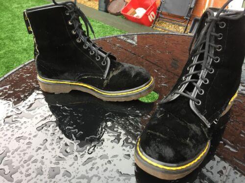 5 Vintage Black In Uk Dr 40 Eu Made Textile 1460 England Boots 6 Velvet Martens qfCp1z