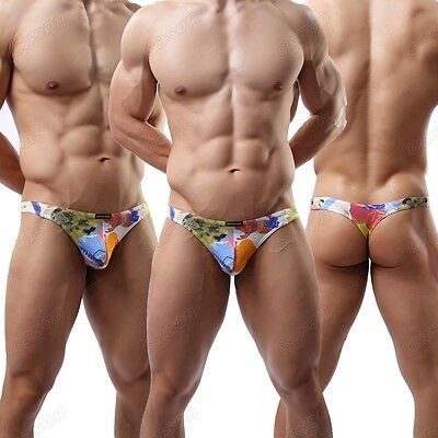 New Mens Color Printed Cotton Underwear Mini Brief Sexy Low Waist Thongs M L XL