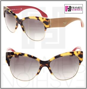 83d97453e5 PRADA Cat Eye Chunky PR11RS Tortoise Beige Red Gradient Sunglasses ...